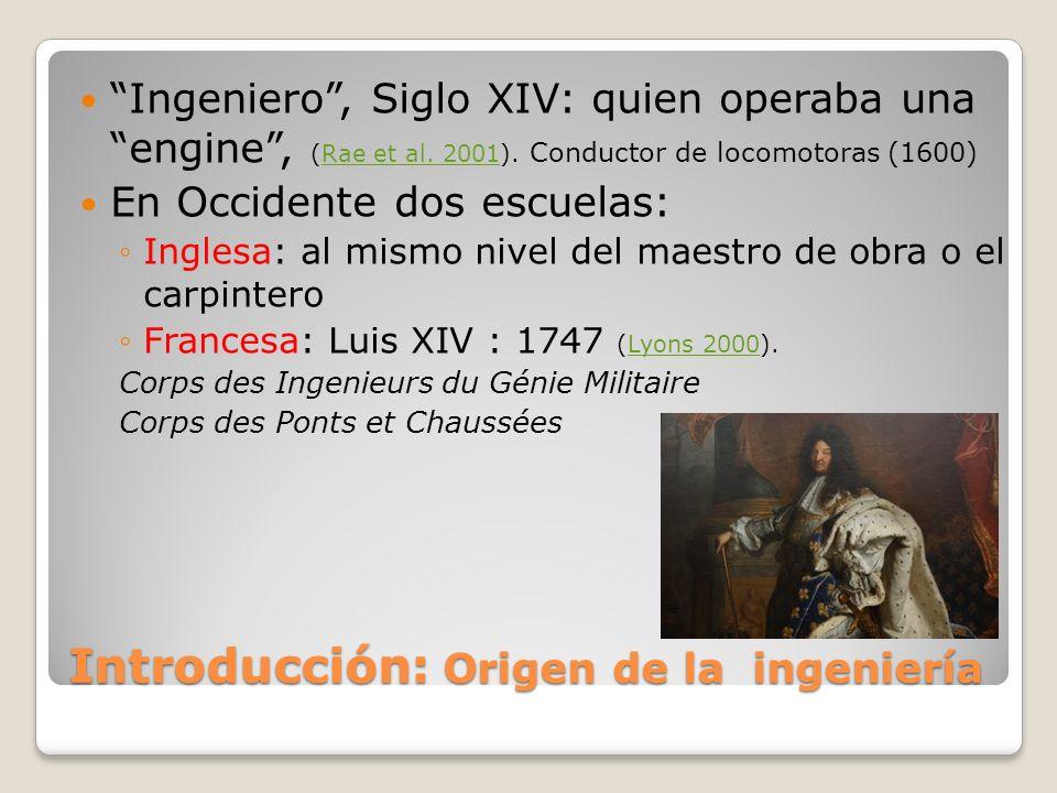 Introducción: Origen de la ingeniería Ingeniero, Siglo XIV: quien operaba una engine, (Rae et al. 2001). Conductor de locomotoras (1600)Rae et al. 200