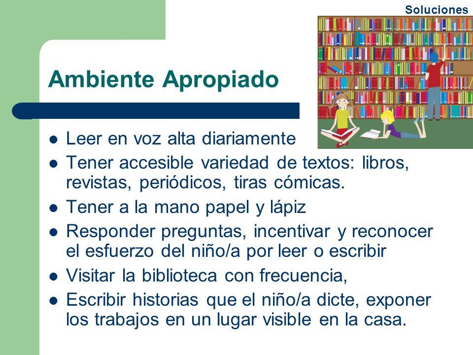 Ambiente Apropiado Leer en voz alta diariamente Tener accesible variedad de textos: libros, revistas, periódicos, tiras cómicas. Tener a la mano papel