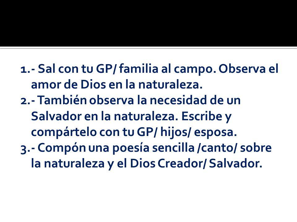 1.- Sal con tu GP/ familia al campo. Observa el amor de Dios en la naturaleza. 2.- También observa la necesidad de un Salvador en la naturaleza. Escri