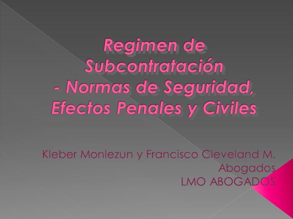 TRABAJO EN REGIMEN DE SUBCONTRATACION LEY Nº 20.123 Elementos: 2.