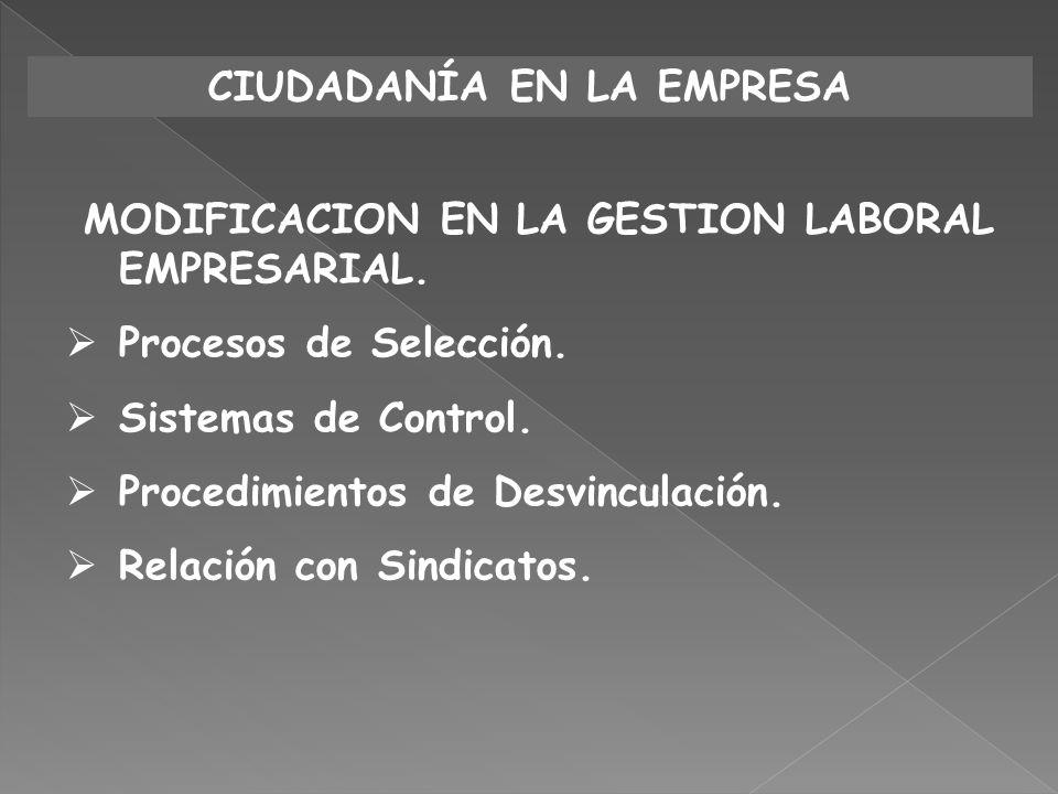 CIUDADANÍA EN LA EMPRESA MODIFICACION EN LA GESTION LABORAL EMPRESARIAL. Procesos de Selección. Sistemas de Control. Procedimientos de Desvinculación.