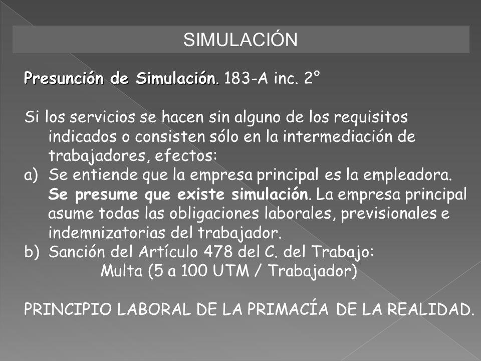 SIMULACIÓN Presunción de Simulación. Presunción de Simulación. 183-A inc. 2° Si los servicios se hacen sin alguno de los requisitos indicados o consis