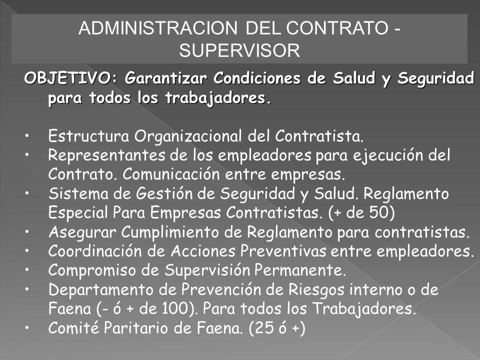 ADMINISTRACION DEL CONTRATO - SUPERVISOR OBJETIVO: Garantizar Condiciones de Salud y Seguridad para todos los trabajadores. Estructura Organizacional