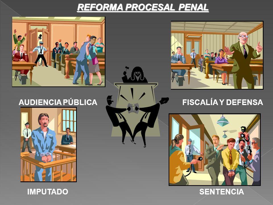 REFORMA PROCESAL PENAL AUDIENCIA PÚBLICAFISCALÍA Y DEFENSA IMPUTADOSENTENCIA
