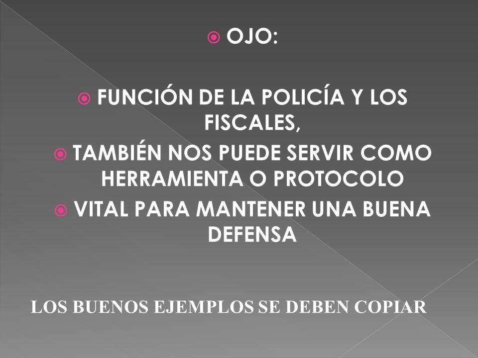 OJO: FUNCIÓN DE LA POLICÍA Y LOS FISCALES, TAMBIÉN NOS PUEDE SERVIR COMO HERRAMIENTA O PROTOCOLO VITAL PARA MANTENER UNA BUENA DEFENSA LOS BUENOS EJEM