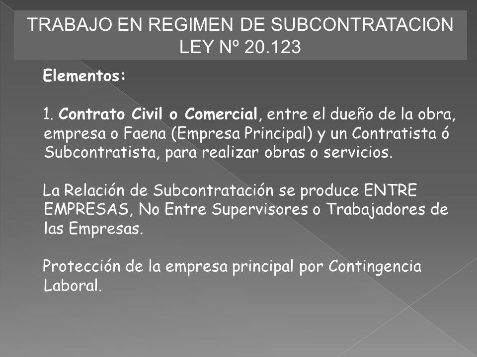 TRABAJO EN REGIMEN DE SUBCONTRATACION LEY Nº 20.123 Elementos: 1. Contrato Civil o Comercial, entre el dueño de la obra, empresa o Faena (Empresa Prin