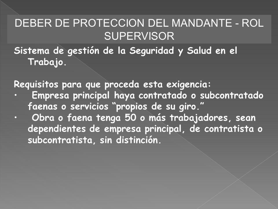 DEBER DE PROTECCION DEL MANDANTE - ROL SUPERVISOR Sistema de gestión de la Seguridad y Salud en el Trabajo. Requisitos para que proceda esta exigencia