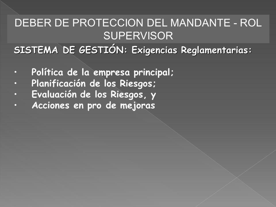 DEBER DE PROTECCION DEL MANDANTE - ROL SUPERVISOR SISTEMA DE GESTIÓN: Exigencias Reglamentarias: Política de la empresa principal; Planificación de lo