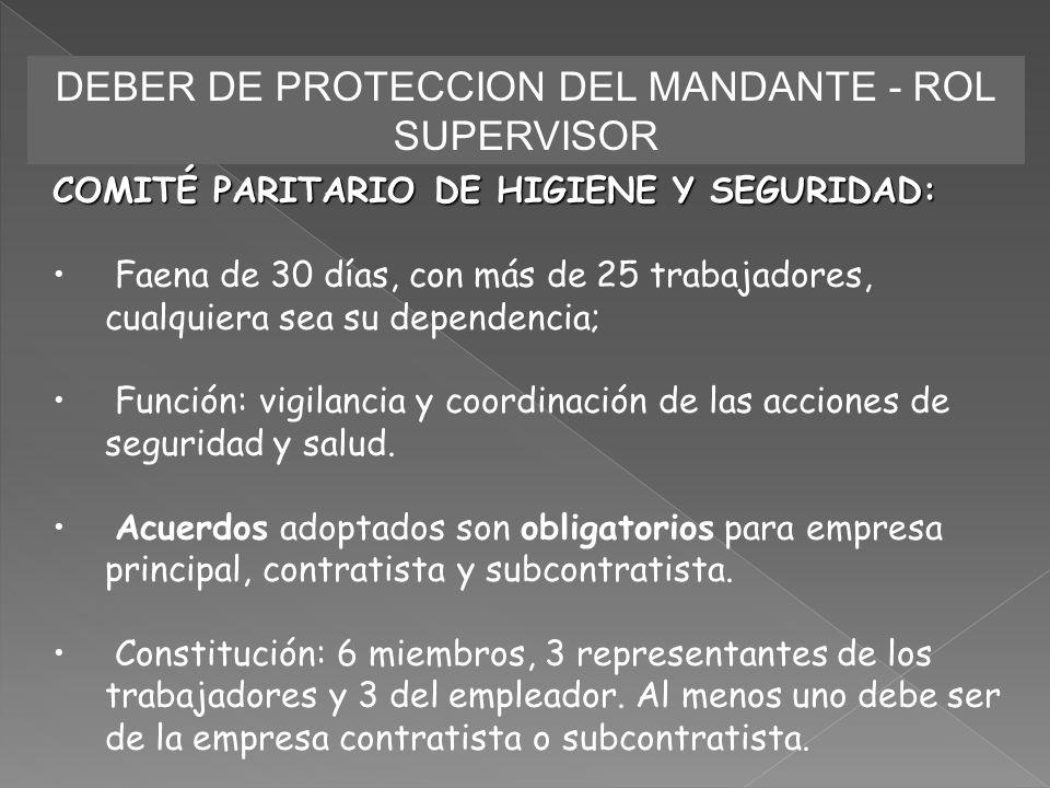 DEBER DE PROTECCION DEL MANDANTE - ROL SUPERVISOR COMITÉ PARITARIO DE HIGIENE Y SEGURIDAD: Faena de 30 días, con más de 25 trabajadores, cualquiera se