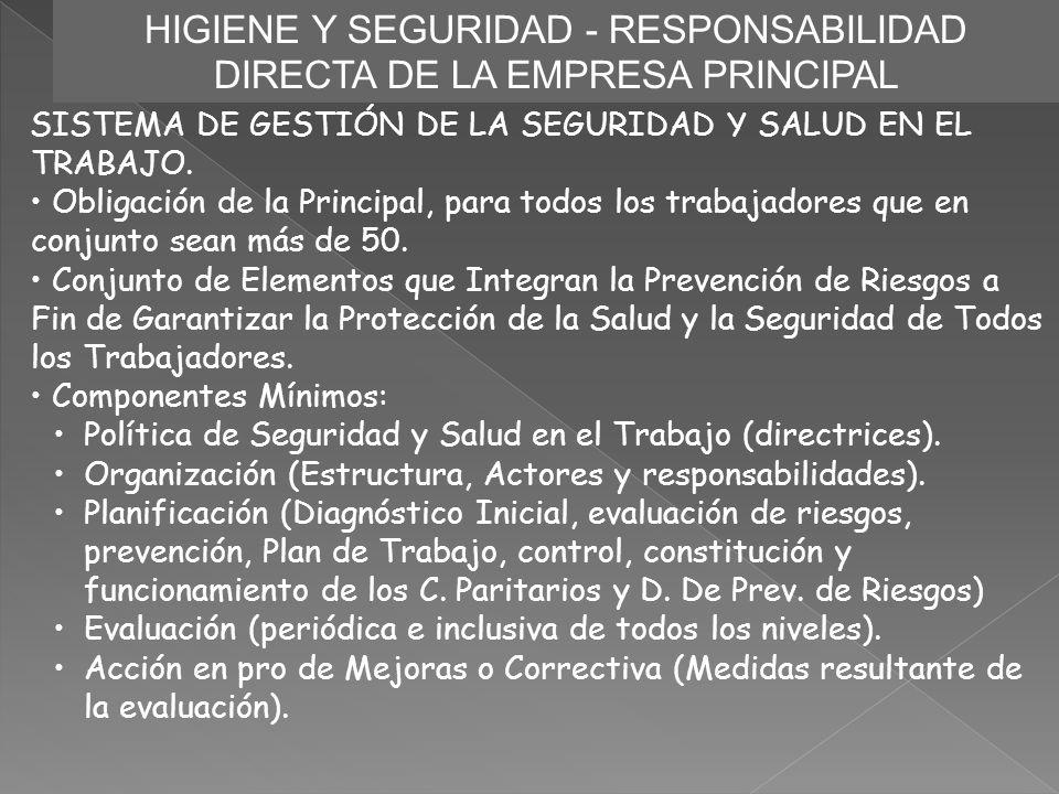 HIGIENE Y SEGURIDAD - RESPONSABILIDAD DIRECTA DE LA EMPRESA PRINCIPAL SISTEMA DE GESTIÓN DE LA SEGURIDAD Y SALUD EN EL TRABAJO. Obligación de la Princ
