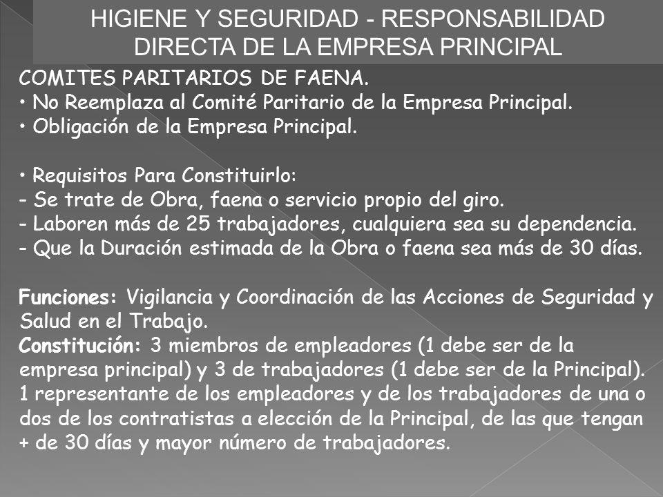 HIGIENE Y SEGURIDAD - RESPONSABILIDAD DIRECTA DE LA EMPRESA PRINCIPAL COMITES PARITARIOS DE FAENA. No Reemplaza al Comité Paritario de la Empresa Prin