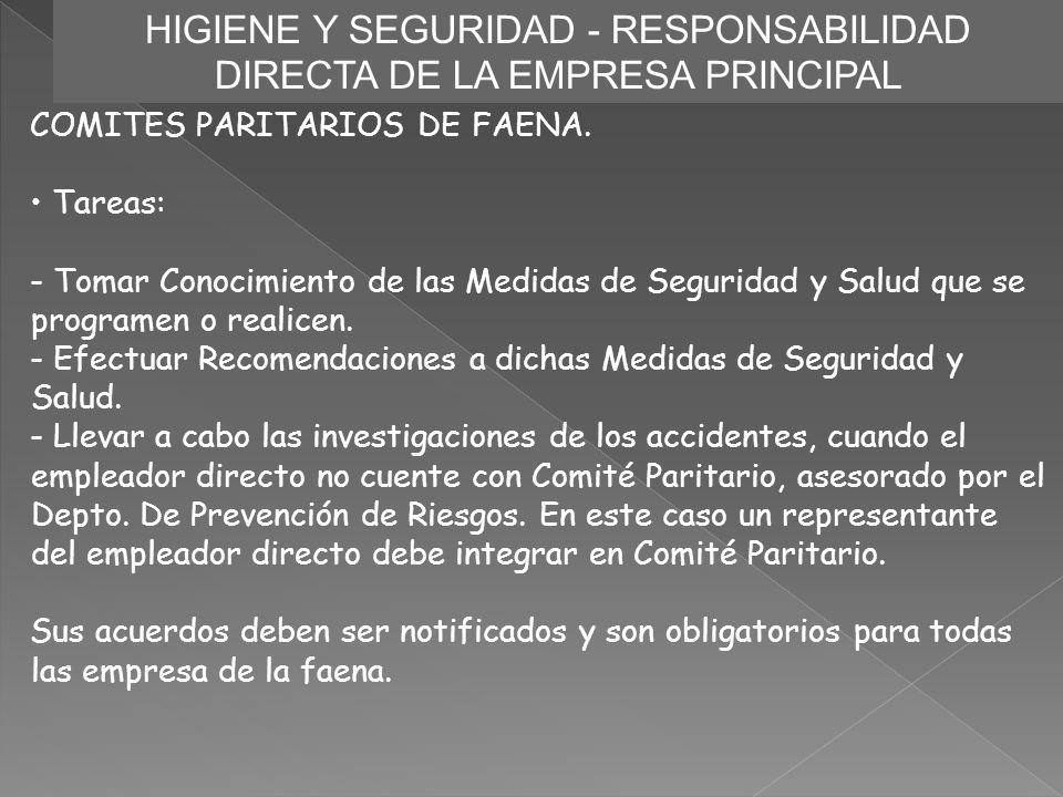 HIGIENE Y SEGURIDAD - RESPONSABILIDAD DIRECTA DE LA EMPRESA PRINCIPAL COMITES PARITARIOS DE FAENA. Tareas: - Tomar Conocimiento de las Medidas de Segu