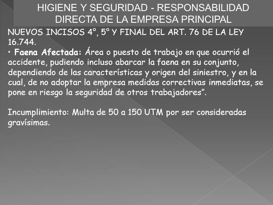 HIGIENE Y SEGURIDAD - RESPONSABILIDAD DIRECTA DE LA EMPRESA PRINCIPAL NUEVOS INCISOS 4°, 5° Y FINAL DEL ART. 76 DE LA LEY 16.744. Faena Afectada: Área