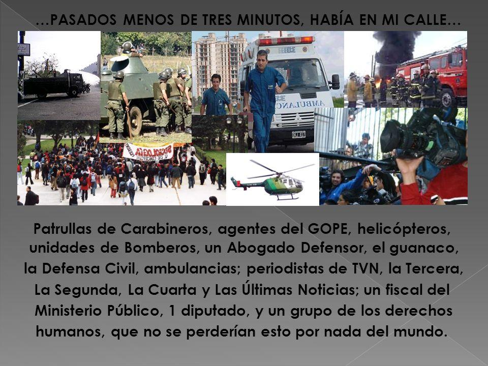 Patrullas de Carabineros, agentes del GOPE, helicópteros, unidades de Bomberos, un Abogado Defensor, el guanaco, la Defensa Civil, ambulancias; period
