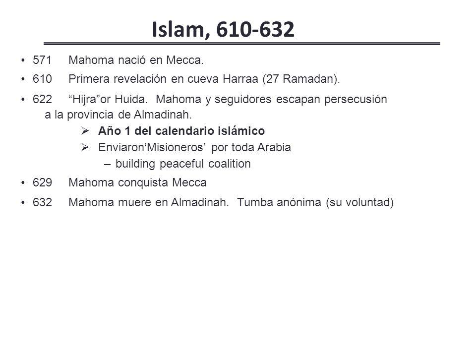 571Mahoma nació en Mecca.610 Primera revelación en cueva Harraa (27 Ramadan).