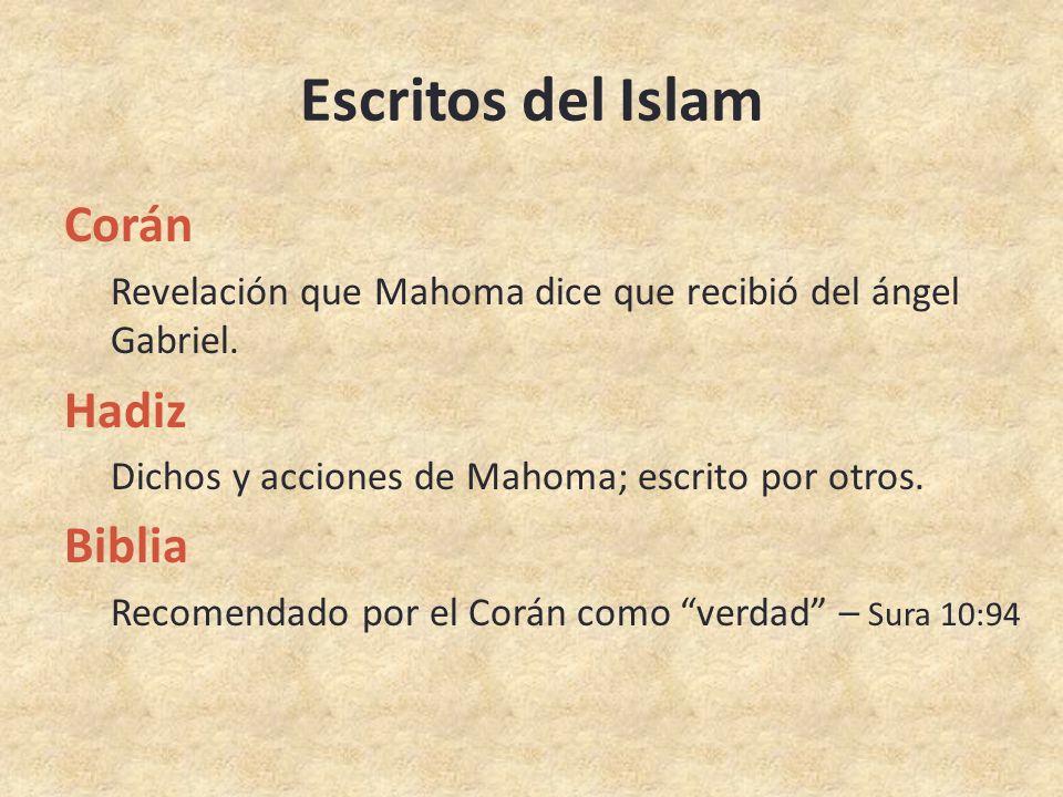 Escritos del Islam Corán Revelación que Mahoma dice que recibió del ángel Gabriel.