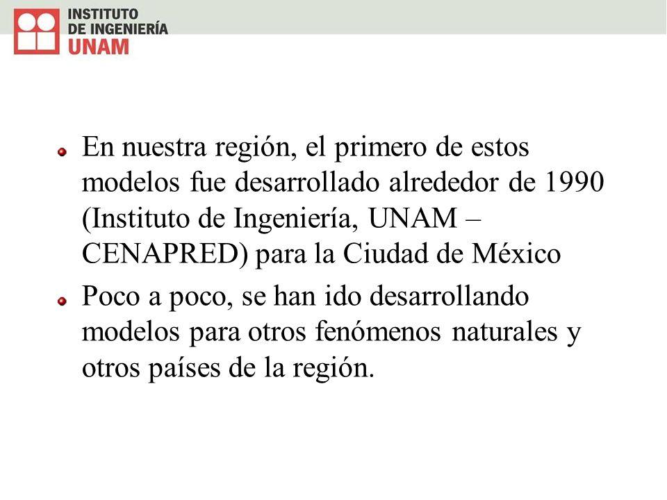 En nuestra región, el primero de estos modelos fue desarrollado alrededor de 1990 (Instituto de Ingeniería, UNAM – CENAPRED) para la Ciudad de México