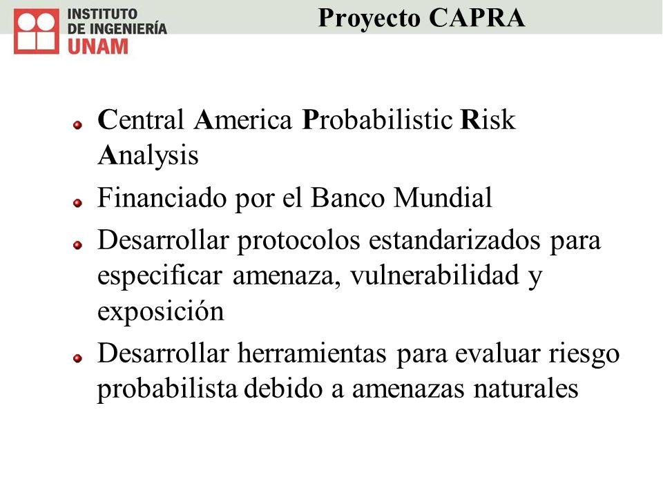 Proyecto CAPRA Central America Probabilistic Risk Analysis Financiado por el Banco Mundial Desarrollar protocolos estandarizados para especificar amen
