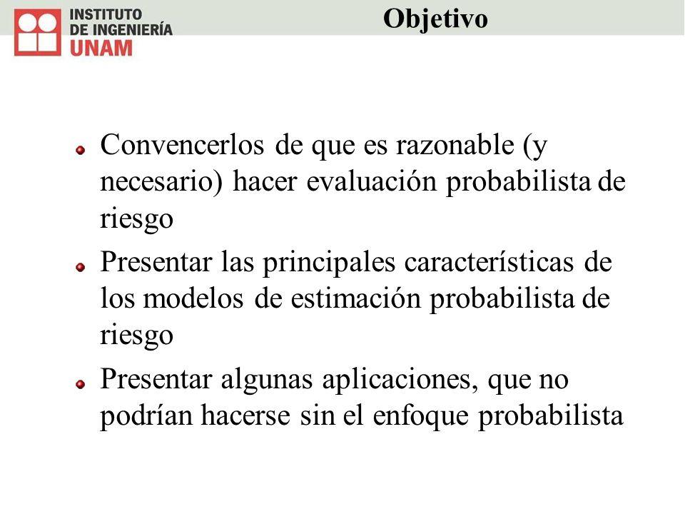 Objetivo Convencerlos de que es razonable (y necesario) hacer evaluación probabilista de riesgo Presentar las principales características de los model