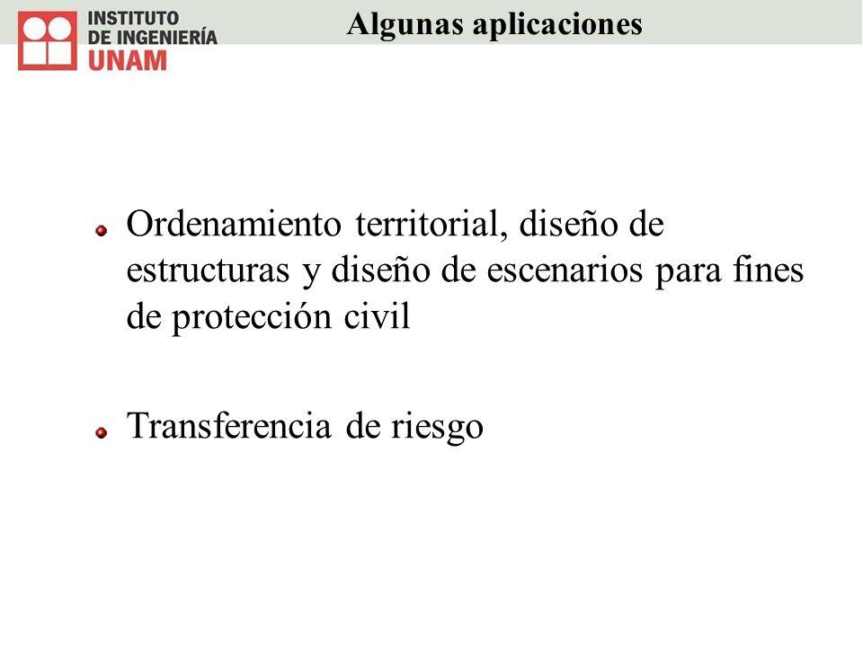 Algunas aplicaciones Ordenamiento territorial, diseño de estructuras y diseño de escenarios para fines de protección civil Transferencia de riesgo