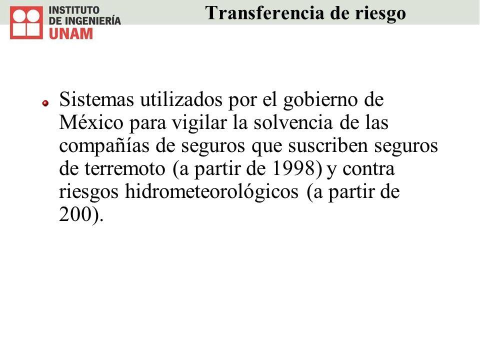 Transferencia de riesgo Sistemas utilizados por el gobierno de México para vigilar la solvencia de las compañías de seguros que suscriben seguros de t