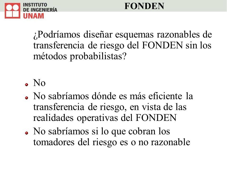 FONDEN ¿Podríamos diseñar esquemas razonables de transferencia de riesgo del FONDEN sin los métodos probabilistas? No No sabríamos dónde es más eficie