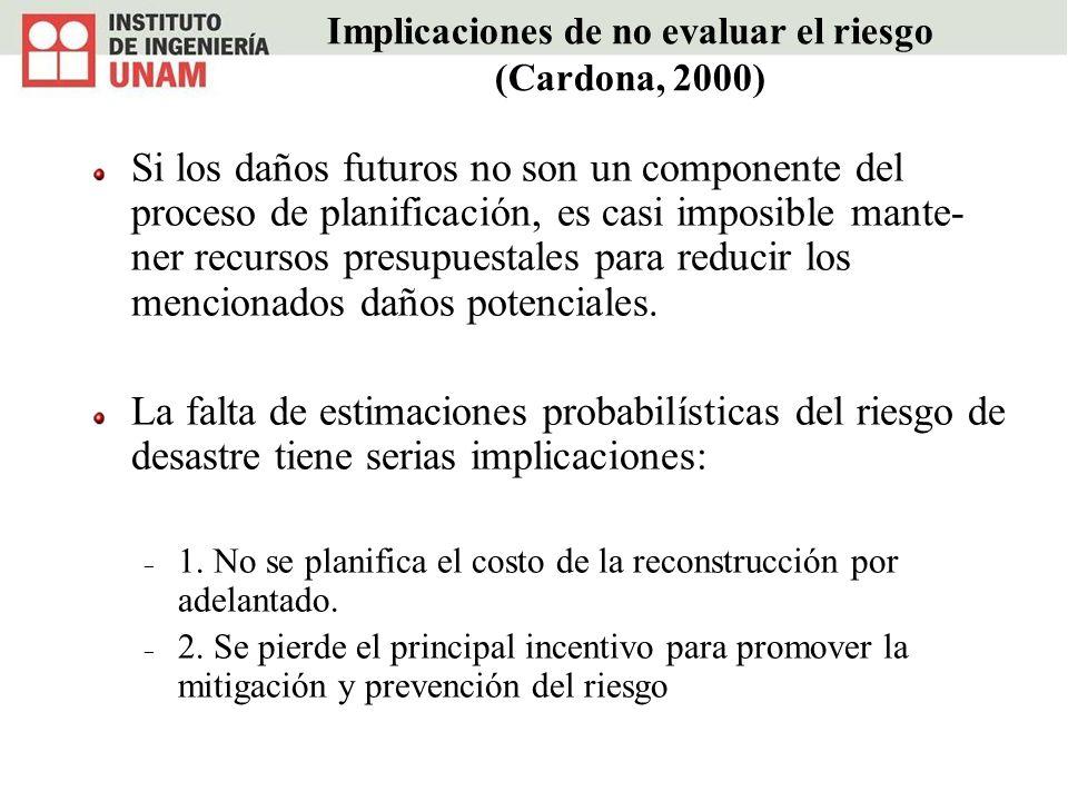 Implicaciones de no evaluar el riesgo (Cardona, 2000) Si los daños futuros no son un componente del proceso de planificación, es casi imposible mante-