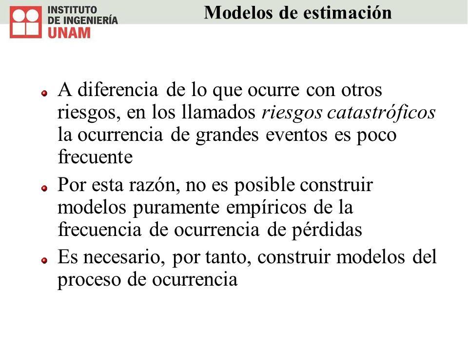 Modelos de estimación A diferencia de lo que ocurre con otros riesgos, en los llamados riesgos catastróficos la ocurrencia de grandes eventos es poco