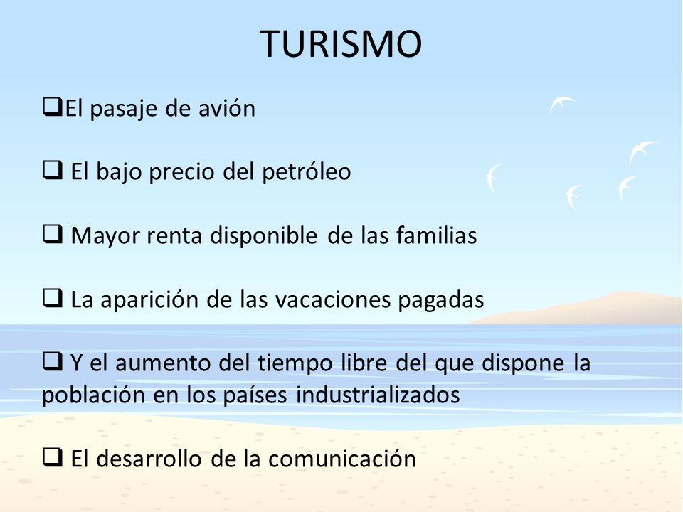 TURISMO El pasaje de avión El bajo precio del petróleo Mayor renta disponible de las familias La aparición de las vacaciones pagadas Y el aumento del