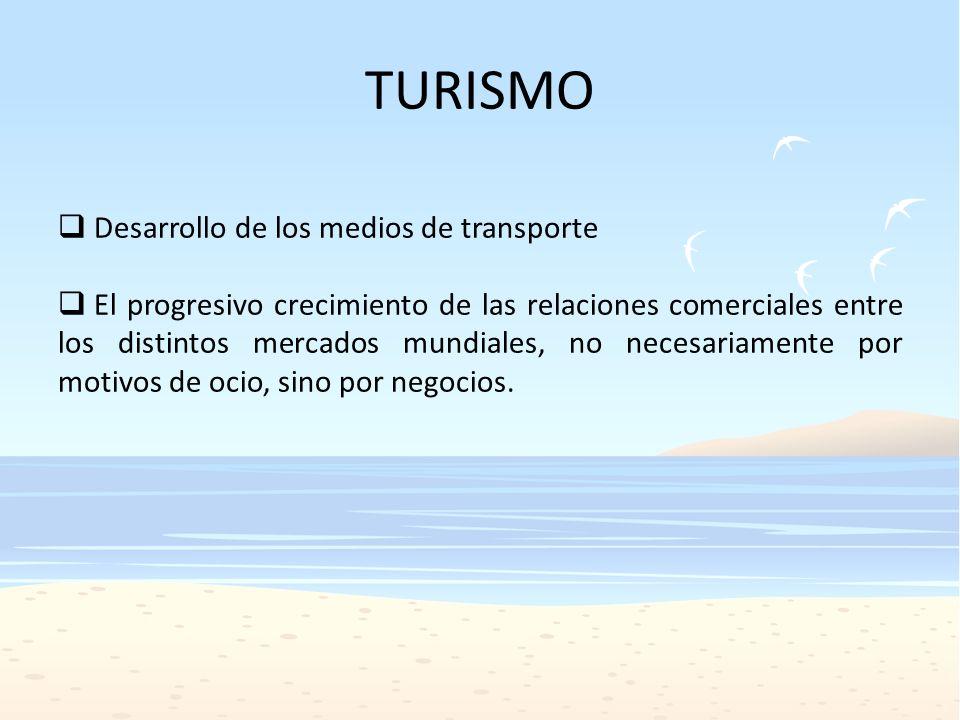 Desarrollo del turismo nacional e internacional El turismo nacional se vio favorecido por factores similares, con el uso creciente del automóvil, y las mejoras en los medios de transporte.