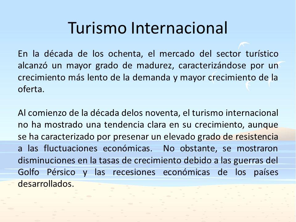 Turismo Internacional En la década de los ochenta, el mercado del sector turístico alcanzó un mayor grado de madurez, caracterizándose por un crecimie