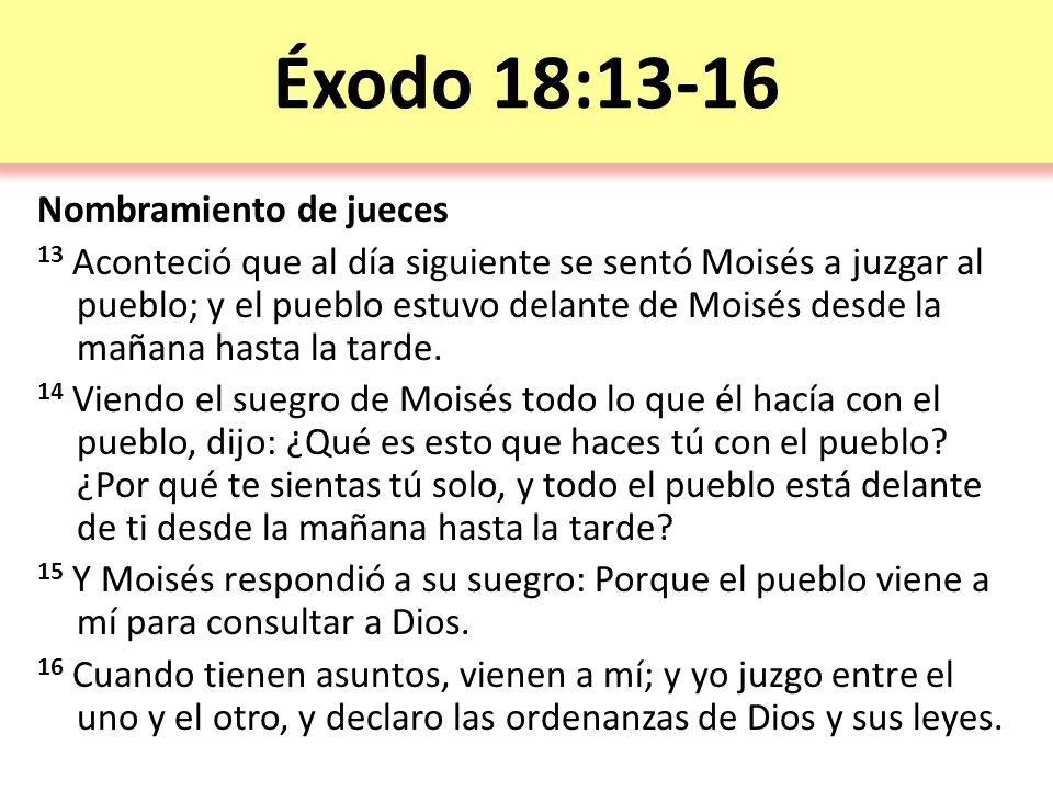Éxodo 18:13-16 Nombramiento de jueces 13 Aconteció que al día siguiente se sentó Moisés a juzgar al pueblo; y el pueblo estuvo delante de Moisés desde la mañana hasta la tarde.