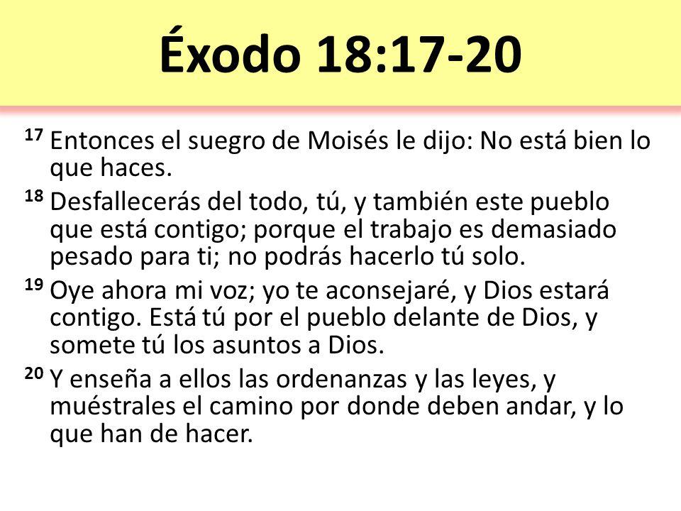 Éxodo 18:17-20 17 Entonces el suegro de Moisés le dijo: No está bien lo que haces.