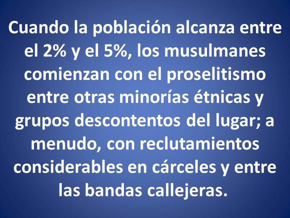 Cuando la población alcanza entre el 2% y el 5%, los musulmanes comienzan con el proselitismo entre otras minorías étnicas y grupos descontentos del l