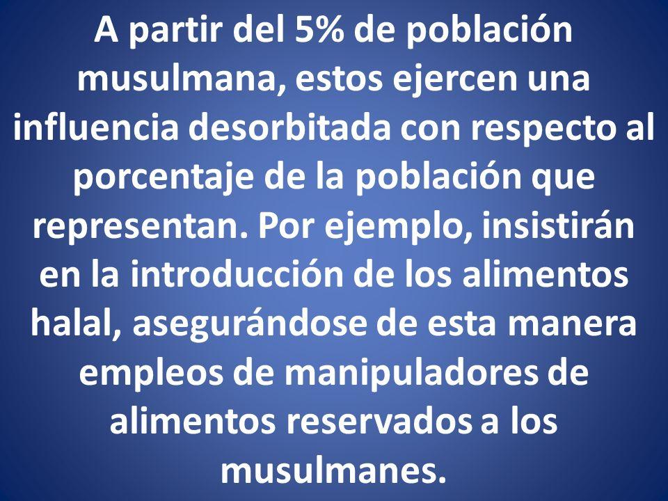 A partir del 5% de población musulmana, estos ejercen una influencia desorbitada con respecto al porcentaje de la población que representan. Por ejemp