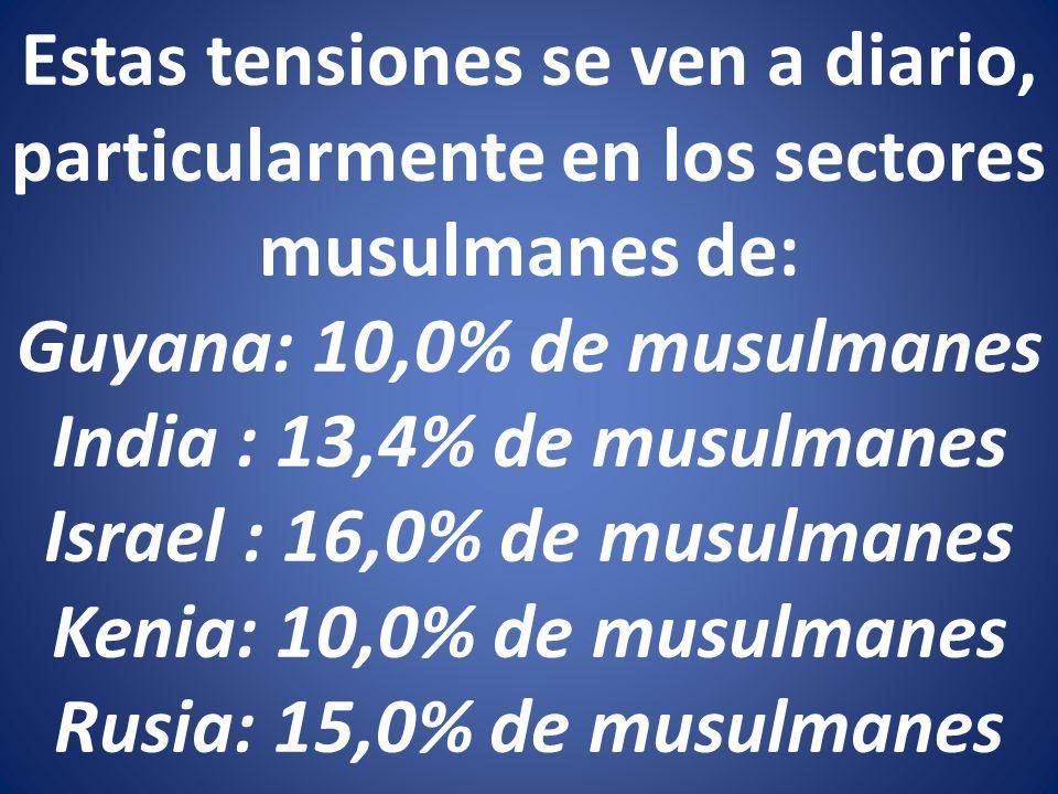 Estas tensiones se ven a diario, particularmente en los sectores musulmanes de: Guyana: 10,0% de musulmanes India : 13,4% de musulmanes Israel : 16,0% de musulmanes Kenia: 10,0% de musulmanes Rusia: 15,0% de musulmanes