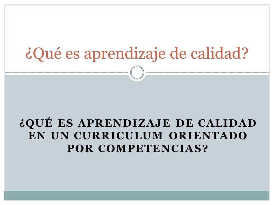 ¿QUÉ ES APRENDIZAJE DE CALIDAD EN UN CURRICULUM ORIENTADO POR COMPETENCIAS? ¿Qué es aprendizaje de calidad?