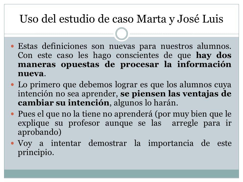 Uso del estudio de caso Marta y José Luis Estas definiciones son nuevas para nuestros alumnos. Con este caso les hago conscientes de que hay dos maner