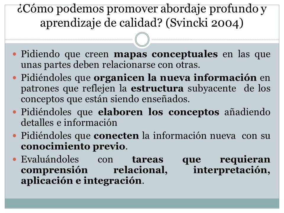 ¿Cómo podemos promover abordaje profundo y aprendizaje de calidad? (Svincki 2004) Pidiendo que creen mapas conceptuales en las que unas partes deben r