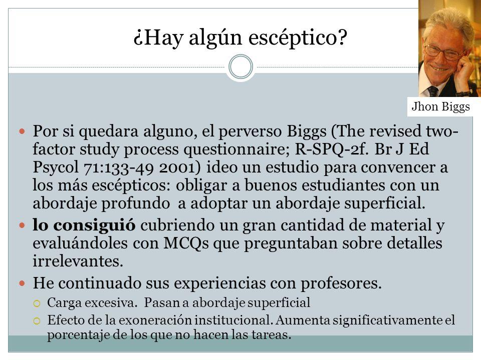 ¿Hay algún escéptico? Por si quedara alguno, el perverso Biggs (The revised two- factor study process questionnaire; R-SPQ-2f. Br J Ed Psycol 71:133-4
