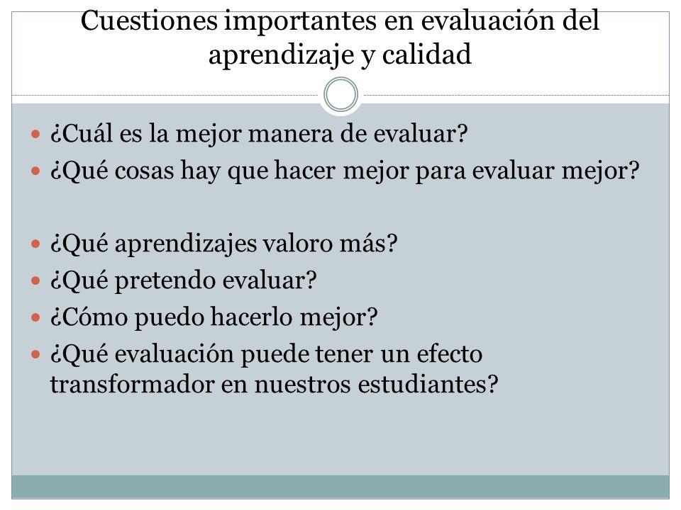 Cuestiones importantes en evaluación del aprendizaje y calidad ¿Cuál es la mejor manera de evaluar? ¿Qué cosas hay que hacer mejor para evaluar mejor?