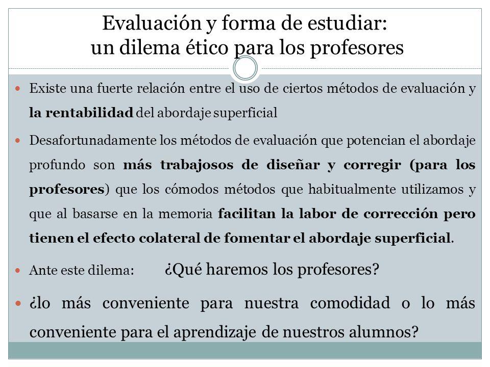 Evaluación y forma de estudiar: un dilema ético para los profesores Existe una fuerte relación entre el uso de ciertos métodos de evaluación y la rent