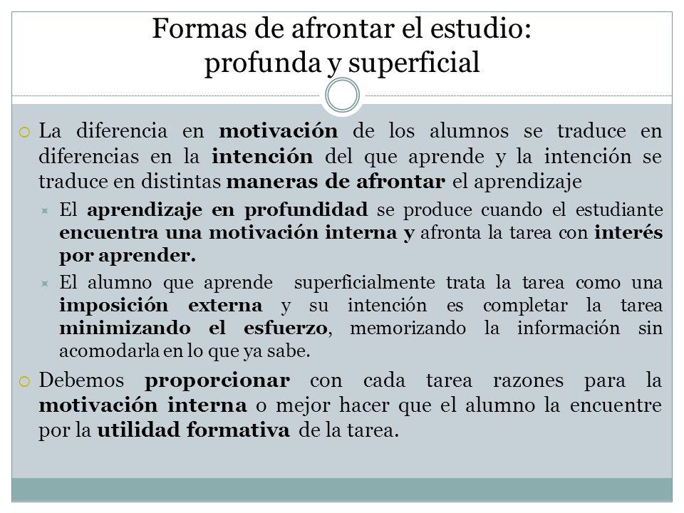 Formas de afrontar el estudio: profunda y superficial La diferencia en motivación de los alumnos se traduce en diferencias en la intención del que apr