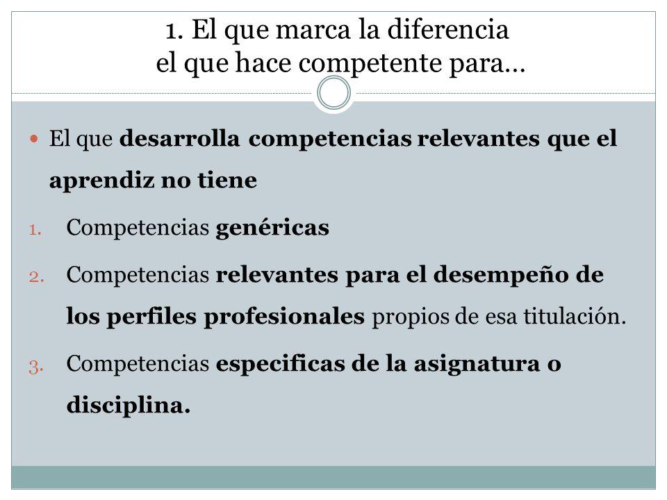1. El que marca la diferencia el que hace competente para… El que desarrolla competencias relevantes que el aprendiz no tiene 1. Competencias genérica