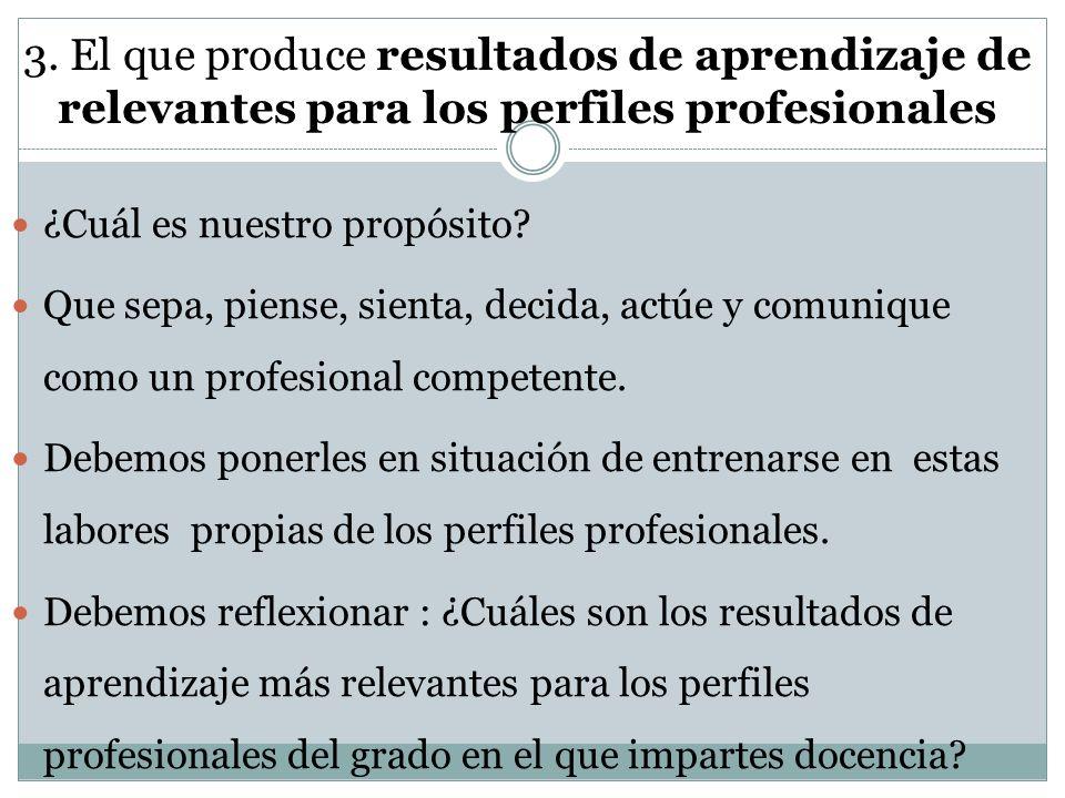 3. El que produce resultados de aprendizaje de relevantes para los perfiles profesionales ¿Cuál es nuestro propósito? Que sepa, piense, sienta, decida