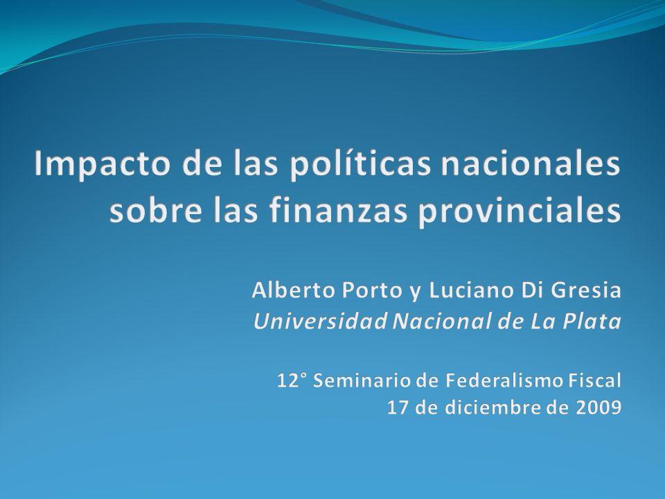 Efecto políticas nacionales canal 1 El conjunto de afectaciones de la coparticipación alcanzan en 2008 un 2,5% del PIB Adicionalmente, se agrega un 0,2% producto de los ATN no distribuidos
