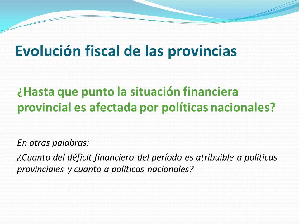 Evolución fiscal de las provincias ¿Hasta que punto la situación financiera provincial es afectada por políticas nacionales? En otras palabras: ¿Cuant