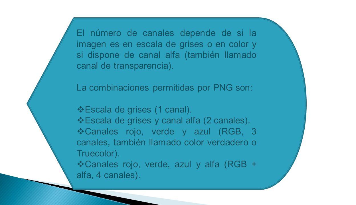 El número de canales depende de si la imagen es en escala de grises o en color y si dispone de canal alfa (también llamado canal de transparencia).