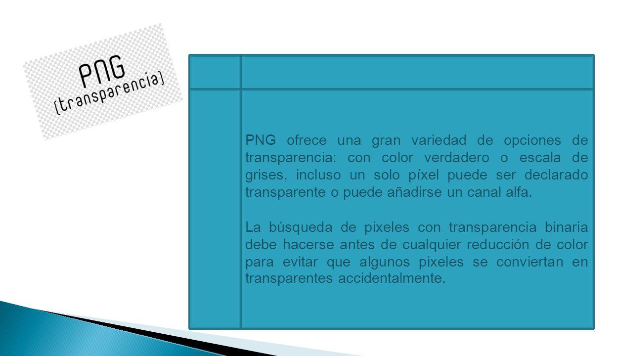 PNG ofrece una gran variedad de opciones de transparencia: con color verdadero o escala de grises, incluso un solo píxel puede ser declarado transparente o puede añadirse un canal alfa.