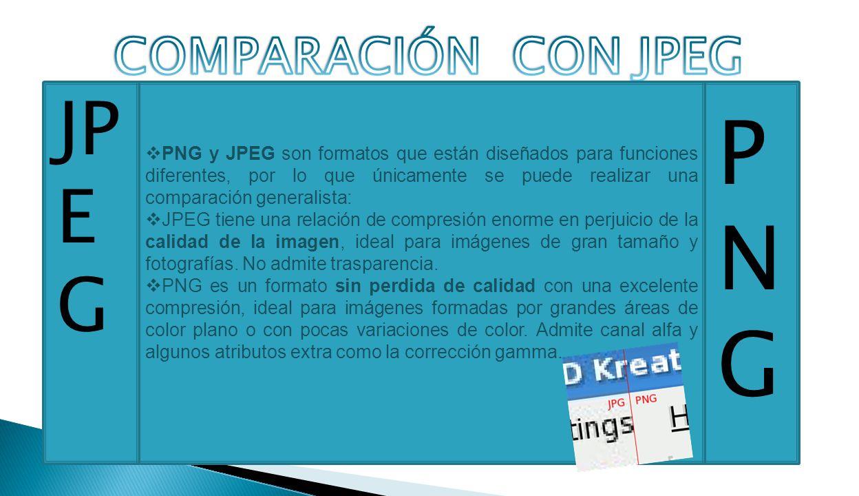 PNG y JPEG son formatos que están diseñados para funciones diferentes, por lo que únicamente se puede realizar una comparación generalista: JPEG tiene una relación de compresión enorme en perjuicio de la calidad de la imagen, ideal para imágenes de gran tamaño y fotografías.